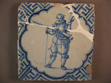 Antique Dutch Delft Tile Soldier Rare Tiles 17th century -- free shipping
