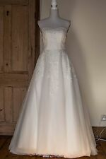 Strapless Beaded Lace Wedding Dress Size 12 - Vintage Style