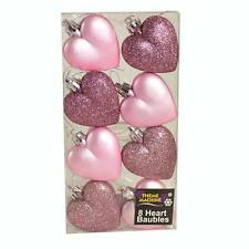 Christmas Decoration 8 Pack 50mm Glitter / Plain Hearts - Pink