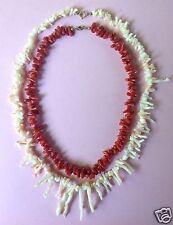 Konvolut 2x Korallen Halskette weiße und rote Ast-Koralle Art Deco Schmuck ~1925
