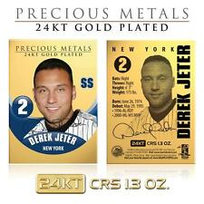 DEREK JETER 24KT Gold Plated Precious Metals Card CRS 1.3 oz Yankees