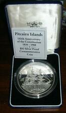 Pitcairn 1988 Constitution 50 Dollars 5oz Silver Coin,Proof,With Box Coa