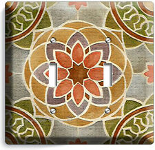 TUSCAN KITCHEN STONE TILE PRINT DOUBLE LIGHT SWITCH WALL PLATE COVER ART DECOR