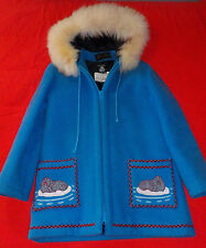 Vintage James Bay Inuit Wool w/Fur Trim Parka Coat,Womens Size Med.