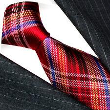 36094 LORENZO CANA Schottenmuster Krawatte Kariert 100% Seide Rot Blau Weiß Karo