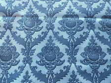 Vintage French Cotton Fabric Grey Jacobean Print 'Sforza' Grand Teint Meuble