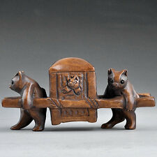 """1940's Japanese Boxwood Netsuke """"TWO CAT HOLDING CHAIR"""" Figurine Carving"""