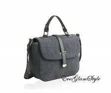 Trendy Unique stylish Grey felt women shoulder bag cross body UK seller autumn