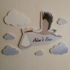 Colour Baby & Stork Mirror Set Personalised Door Name Plaque Boy Girls Bed Room