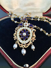 An Exquisite 18ct, 18k, 750 Gold lavalier Pearl & Enamel pendant & Pearl chain