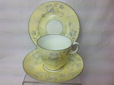 c.1920s WEDGWOOD FLORAL IN YELLOW HANDPAINTED TEA TRIO ( Teacup, Plate, Saucer)