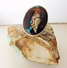 Vintage 1960's Old Pawn ZUNI Inlay Turquoise 3d lnlay QUAIL Large Ring sz 9.5