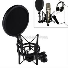 Professional Condenser Microphone Mic Studio Sound Recording Pop Filter Mask Blk