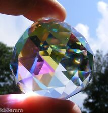 ASFOUR 40mm Aurora Borealis CRYSTAL ~ faceted AB PRISM ball ~ Sweet suncatcher!
