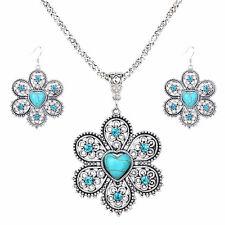 Belleza Flor de cristal Corazon Turquesa Colgante Pendientes Jewelry Sets