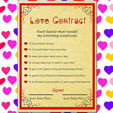PERSONALISED VALENTINES DAY LOVE CONTRACT GIFT FOR MAN OR WOMAN, HIM OR HER!