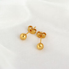 1Pair 18K Gold Plated Ear Stud Dots 0.8mm With Earring Back Stoppers 5mm