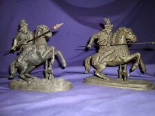 ANTIQUE KNIGHTS CHARGING MEDIEVIL WARRIOR DEULING HORSE ART STATUE BOOKENDS