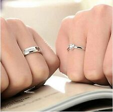 2 PC Valentine Gift Sterling Silver Plated Love Heart Adjustable Rings UK SELLER