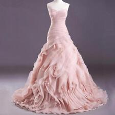 Blush Pink Wedding Dresses Mermaid Bridal Gown Custom Size 4/6/8/10/12/14/16/18+