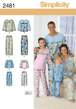 SEWING PATTERN SIMPLICITY 2481 CHILD'S TEENS' & ADULTS PANTS & TOP SLEEPWEAR