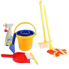 Kids Cleaning Set Pretend Play Mini House Cleaning Broom Dust Brush Pail Tools