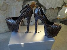 Brian Atwood *Authentic* SkyHigh Ankle Strap Snake Skin Platform  Pumps Size 37