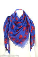 ALEXANDER McQUEEN CLASSIC BLUE & RED SKULL PASHMINA SCARF BOLD COLOURS BNWT