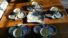 CROWN DUCAL RARE BLUE CHINTZ TEA & TOAST SET OF 5 W CAKE PLATE