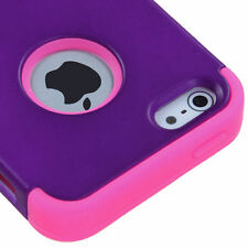 For Apple iPhone 5 Rubber IMPACT TUFF HYBRID Case Skin Phone Cover Purple Pink