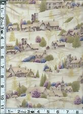 Fabric Woodrow Christmas English countryside village winter scene Met. GOLD BTHY