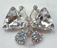 Clear Grade A Rhinestone Crystal Butterfly Critters Brooch Insects 48mm M0507