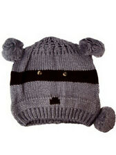 New Knitted Grey Raccoon Animal Beanie Hats One Size Winter Warm BNWT