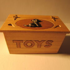 Toy box made of wood with opening hinged lid ~ Dollhouse miniature ~ 12 th scale