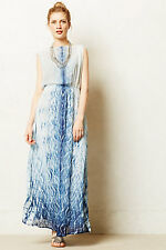 ANTHROPOLOGIE by PURE NATURE - NINAI Maxi Dress Blue White Motive size L NEW NWT