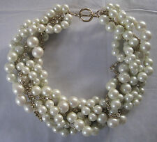 HEAVY PEARL AND RHINESTONE CHOKER NECKLACE