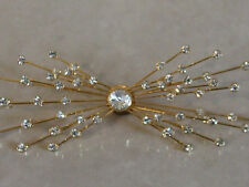 Wonderful Star Rays Burst Diamante Studded Large Gold Tone Broach Pin -Fabulous!