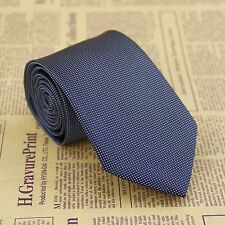 Classic Men's Navy Blue Grid Tie 100% Silk Jacquard Woven Formal Meeting Necktie