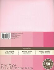 "New Recollections 8.5x11"" Cardstock Paper Pink Buttons Baby Girl 50 Sheets"