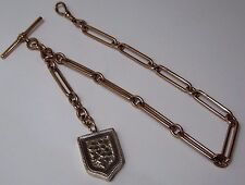 ANTIQUE 9ct ROSE GOLD FETTER LINK ALBERT POCKET WATCH CHAIN & LOCKET FOB 52Gm