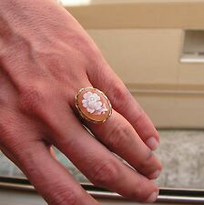 ESTATE  GOLD SILVER  CAMEO RING-SIZE 8 Cornelian Shell Flower's