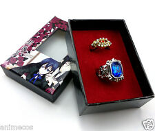 Black Butler Kuroshitsuji Ciel Alois Trancy Cosplay rings 2pcs New in Box