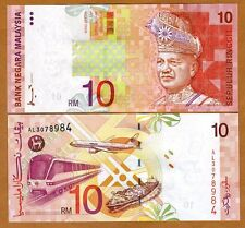 Malaysia, 10 Ringgit, ND (1997) P-42a, First Sign. UNC   Airplaine, Train, Ship