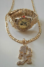 GOLD FINISH DESIGNER HIP HOP BLING STYLE  WATCH AND PENDANT/24'' CHAIN COMBO SET