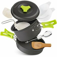 Camping Cookware Gear Lightweight Collapsible Foldable Pots Pans Backpacking Kit
