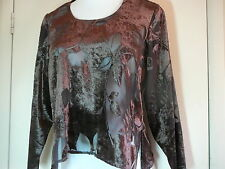 Women's Knit Top Sz 6 Brown See Through Lace Long Sleeve Scoop Neck Rabbit