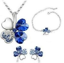 WHITE GOLD PLATED BLUE AUSTRIAN CRYSTAL FOUR LEAF CLOVER NECKLACE SET