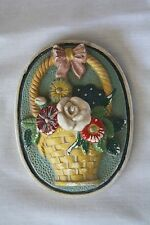 "Old 5.5 x 4"" vintage chalkware plaque Flowers Floral Flower Basket"
