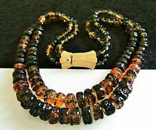 Czech pressed glass honey amber color knotted in between 2 strand  NECKLACE