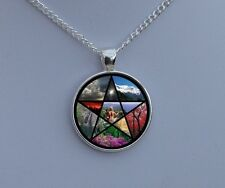 Wicca Astrology Fire Air Earth Water Art Work Glass Dome Necklace Pendant Gift